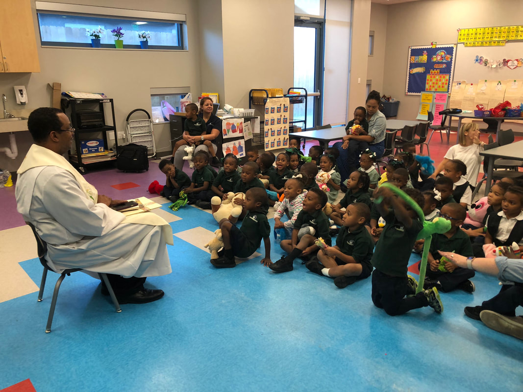 Fr  Davis Visits GSS - Good Shepherd School - New Orleans, LA